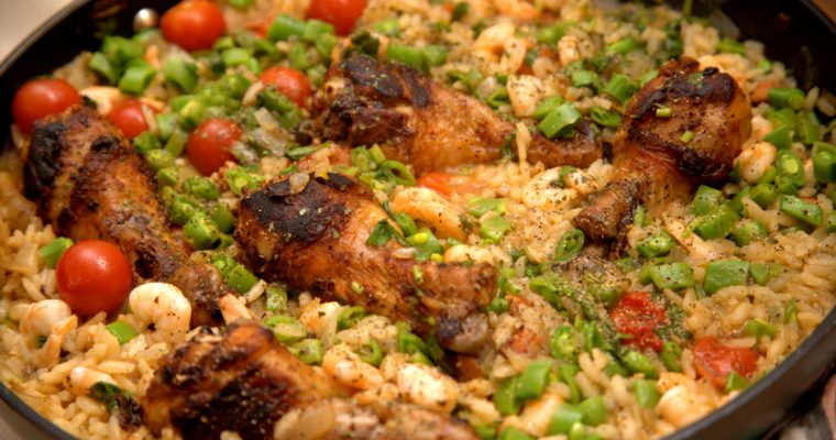 Spanish Paella with Chicken, Shrimp and Chorizo