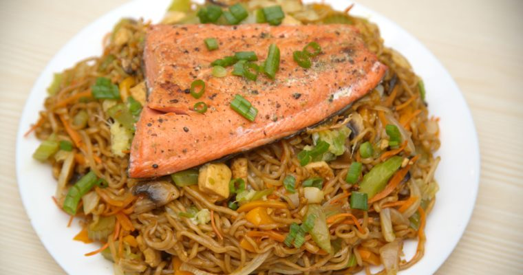 Pan-seared Lime Salmon and Yakisoba