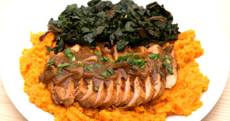 Seared Pork Chops, Kale, and Maple Butter Gravy