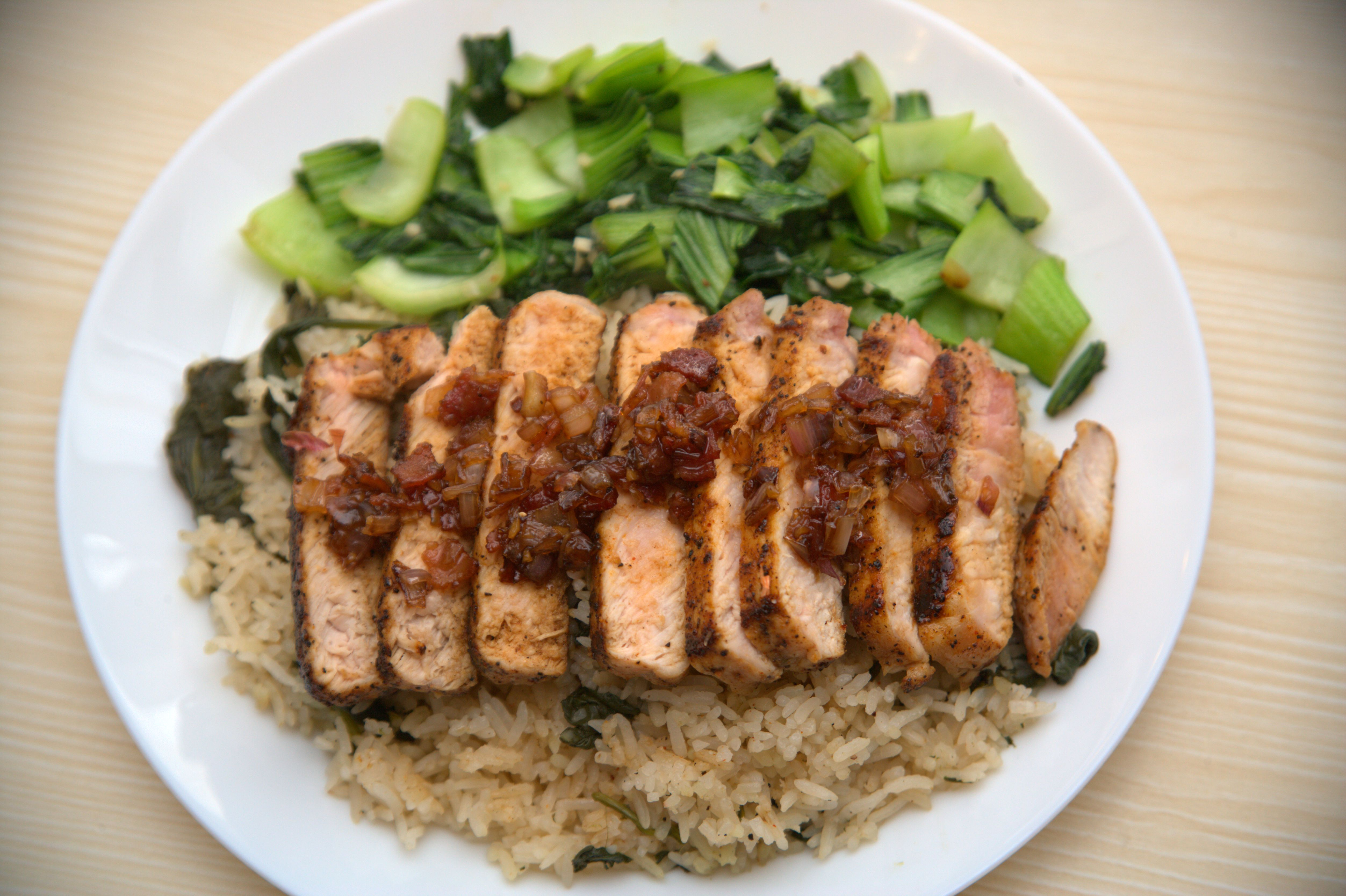 Pork Chops, Maple-Bacon Jam, Bok Choy and Spinach Rice